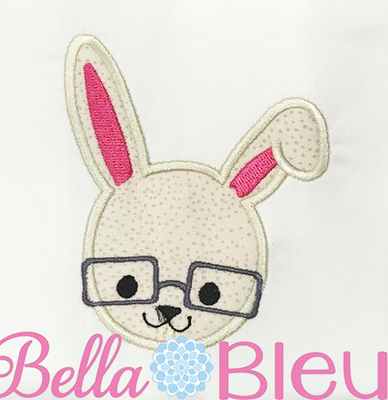Easter Bunny Wearing Glasses Machine Applique Design SL