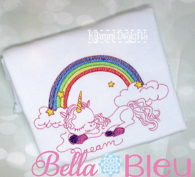 Dream Unicorn Rainbow Sketchy Machine Embroidery design