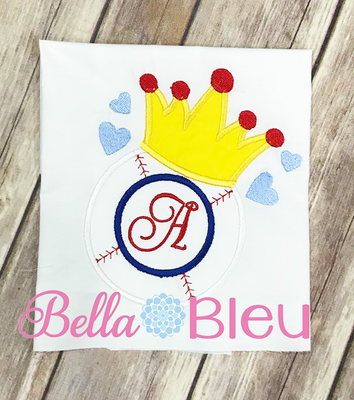 Softball Monogram with Crown Appliqué Embroidery Design