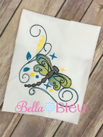 Sketchy Dragonfly Color blend machine embroidery design