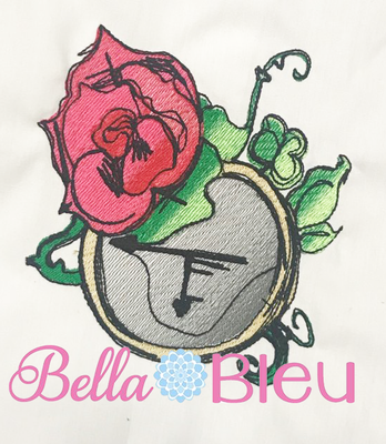 Urban Sketchy Punk Rose and Clock Embroidery Design