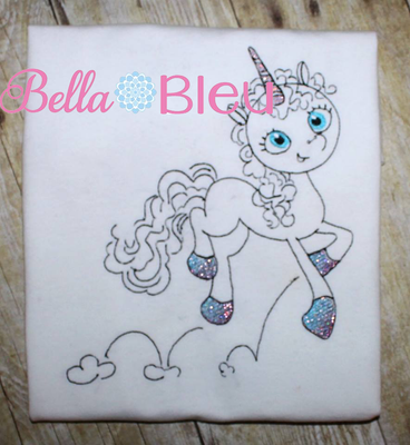 Prancing Unicorn Sketchy Machine Embroidery design