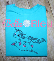 Believe Unicorn Sketchy Machine Embroidery Design