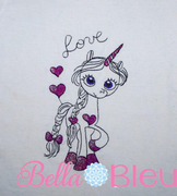 Unicorn Love Sketchy Machine Embroidery Design