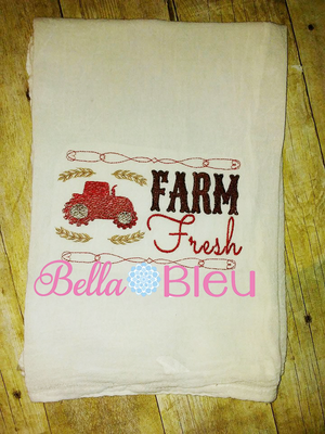 Farm Fresh Sketchy Tractor Kitchen Towel Machine Embroidery design