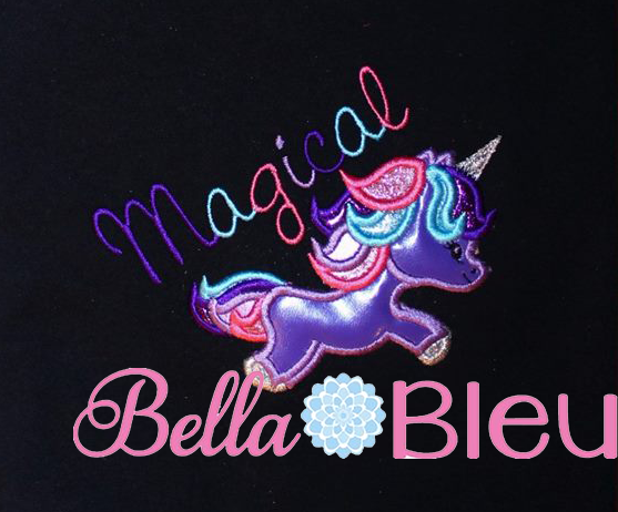 Magical unicorn embroidery machine applique design bella bleu