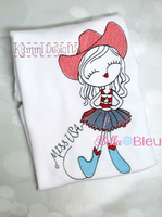 4th of July Cowgirl Sketchy Machine Embroidery design