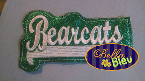 ITH in the hoop Bearcats Headband Slider Topper machine embroidery