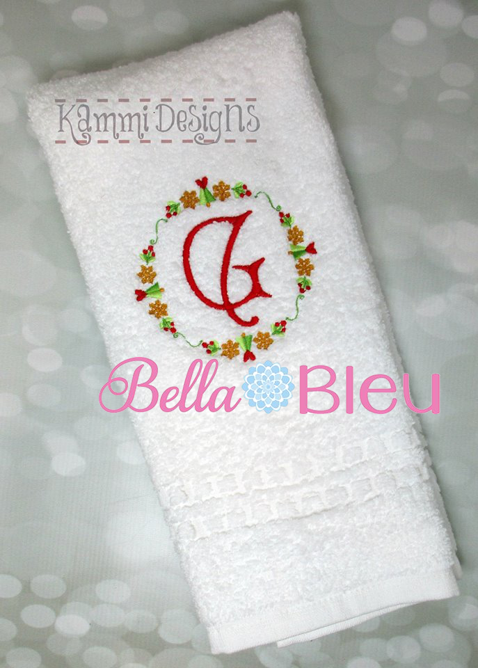 Beautiful Christmas Holiday Monogram frame machine embroidery design