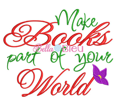 Make books part of your world Mermaid reading pillow saying embroidery design