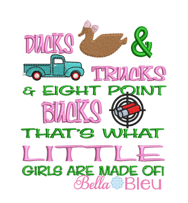 Girls Ducks Trucks & 8 Point bucks reading pillow embroidery saying with Vintage Red truck, duck and some buck shots embroidery design