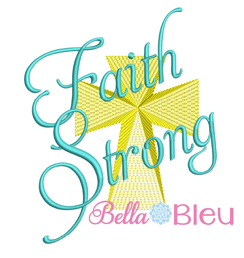 Faith Strong with Cross sketchy machine embroidery design 8x8