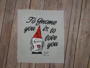 Valentine Gnome Machine Embroidery Design 5x5
