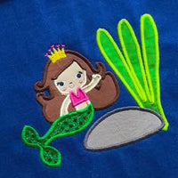 Mermaid Princess Under Water Sea Life Applique Embroidery Designs Design