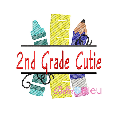 Sketchy 2nd Grade Cutie Back to School machine embroidery design