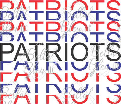 Stacked Patriots Team Name Sublimation File