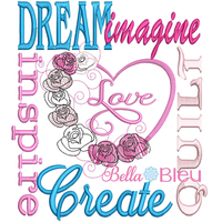 Quilting Saying Rose Heart Inspire Subway Art Machine Embroidery sketchy design