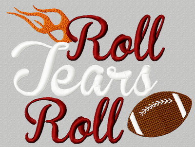 Roll Tears Roll Football filled machine embroidery design