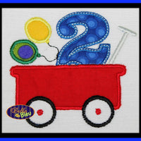 1, 2, 3, 4, 5 Happy Birthday Balloons in Little Red Wagon