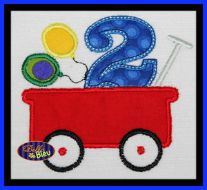 Little Red Wagon with Second 2nd Birthday Machine Applique Embroidery Design