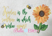 Kindness & Virtue with Sunflower Saying Machine Embroidery design
