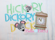 Nursery Rhymes Hickory Dickory Dock with Mice Machine embroidery sketchy design