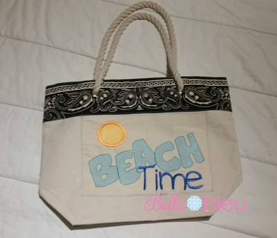Sketchy Beach Time Machine Embroidery design 6x10