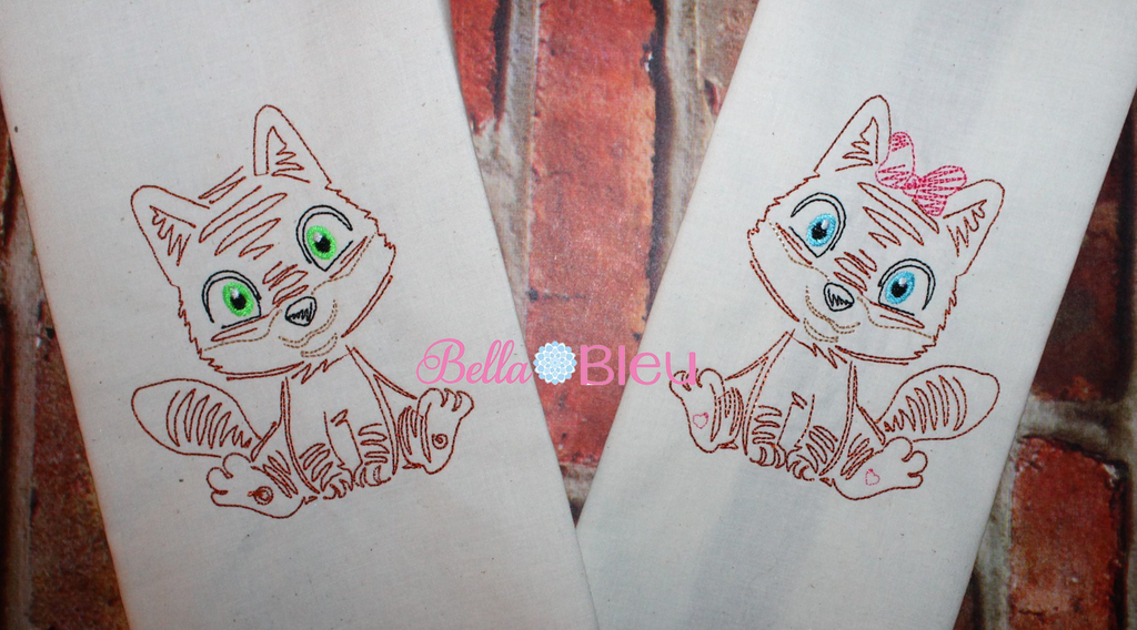 Fox Girl Bean stitch colorwork machine embroidery design 4x4
