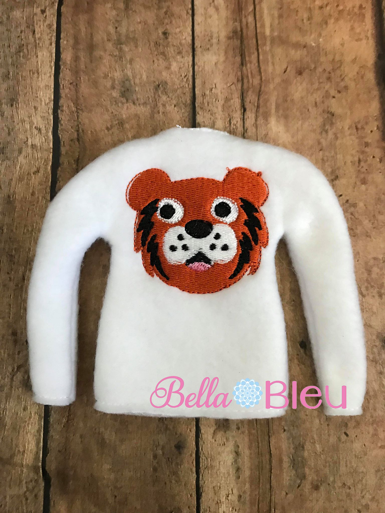 ITH Tiger Mascot Elf Sweater Shirt Embroidery design