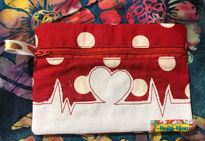ITH Nurse EKG heartbeat wallet machine embroidery design