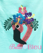 Flamingo with Hibiscus Crown applique machine embroidery design