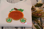 Fall Pumpkin Princess Carriage 8x12 Applique