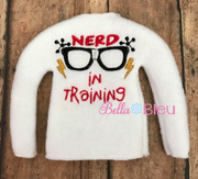 ITH Nerd in Training Elf Sweater Shirt machine embroidery design