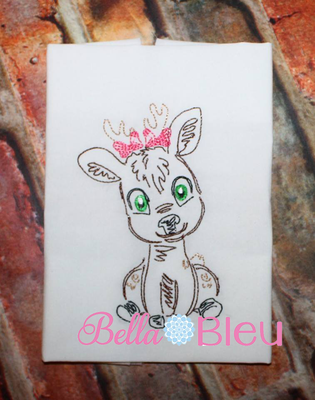Girl Deer bean colorwork stitch 6x6 machine embroidery