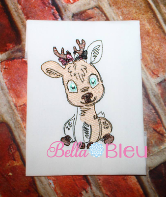 Sketchy Girl Deer 4x4 Colorwork Machine Embroidery