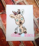 Girl Deer Sketchy Colorwork Machine Embroidery design 8x8