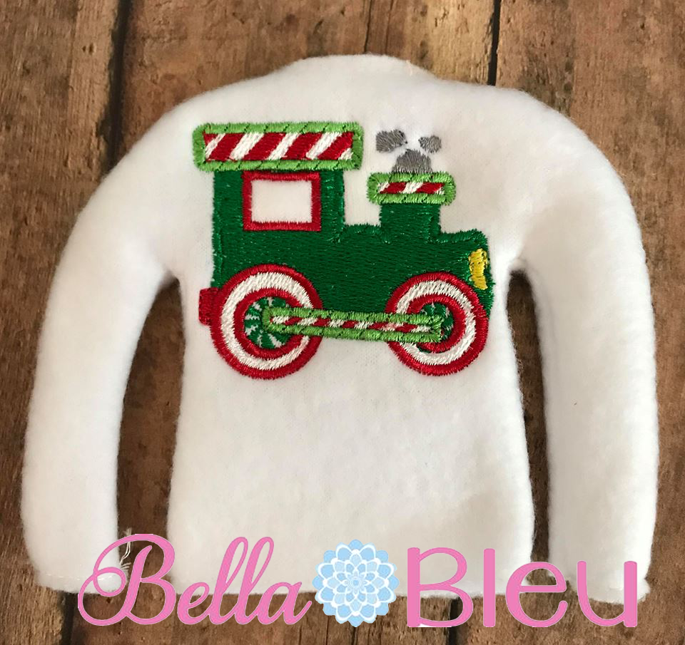 ITH Elf Christmas Train Sweater Shirt Machine Embroidery design