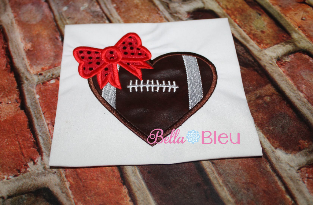 Girlie Football with Bow machine embroidery applique 4x4