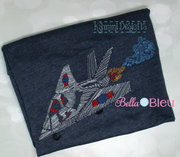 War Fighter airplane Plane Bean Stitch machine embroidery design 8x12