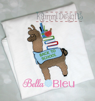BTS Back to School Llama colorblend machine embroidery 5x7