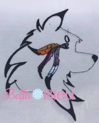 Native American Wolf with feathers applique machine embroidery design 8x8 Color blend