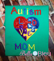 Autism Mom Heart Awareness Machine Embroidery 5x7