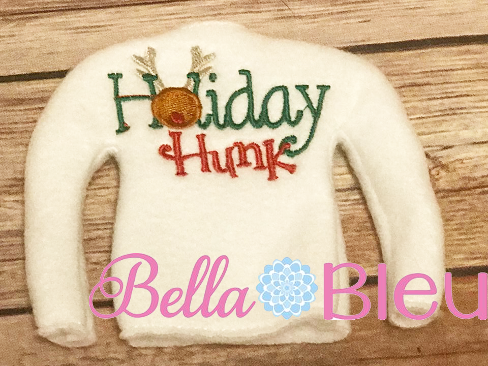Holiday Hunk Elf Sweater In the hoop ith embroidery design