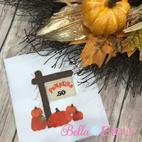 Raggy Fall Pumpkin Sign Machine Applique  5x5