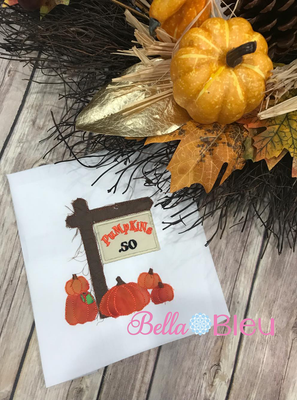 Raggy Fall Pumpkin Sign Machine Applique 8x8