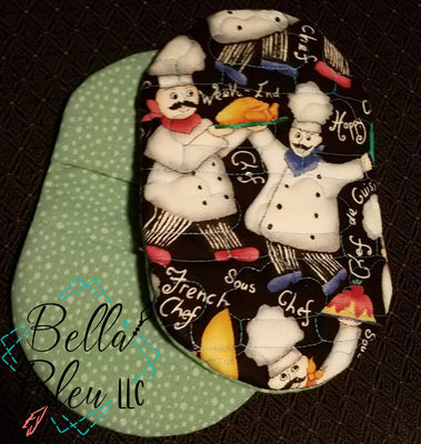 ITH In The Hoop chef hat Print Motif Kitchen Pot holder oven mitt  5x7 6x10
