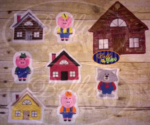 ITH in the hoop Three 3 Little Pigs Wolf Houses Finger Puppets Applique machine embroidery
