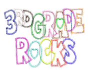 3rd Third Grade Rocks with Heart Zig Zag