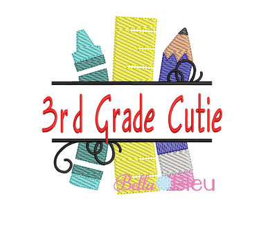 Sketchy 3rd Grade Cutie Back to school machine embroidery design