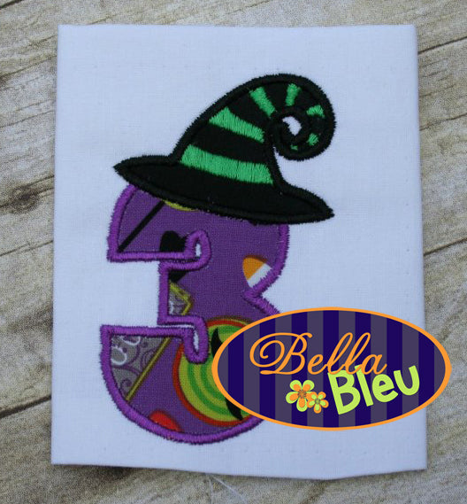 #3 Three Number Font with Witch Hat